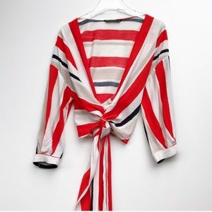 ZARA basics striped wrap top